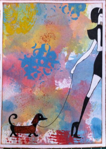 dog postcard - handmade